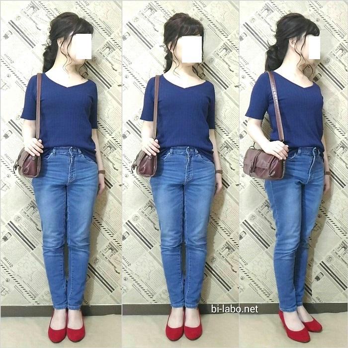 低身長ファッション、夏の大人カジュアルコーデ816-2