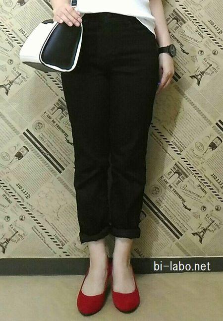 背が低い女性向け、秋のパンツコーデ9153