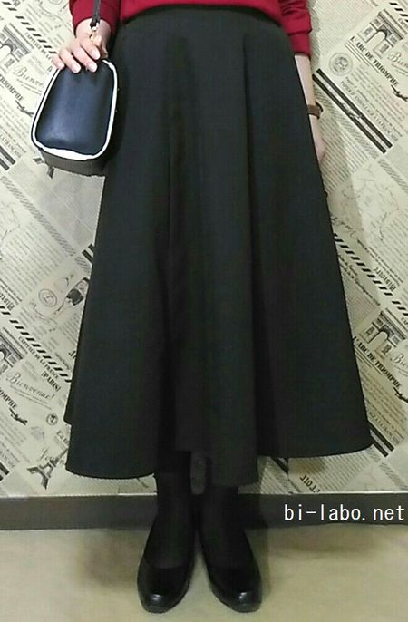 背が低い女性向け、冬のきれいめスカートコーデ1223-3