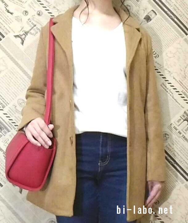 小柄な女性向け、コートを使った大人カジュアルコーデ307-2
