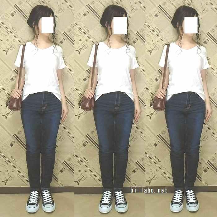身長150cm以下女性向け、白Tシャツを使った夏の大人カジュアルコーデ525-1